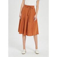 【2件1.5折价:55.4】MECITY女装时尚腰带橘色休闲半身裙