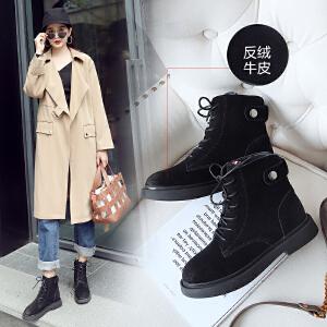ZHR马丁靴女英伦风平底鞋加绒【长、短绒可选】复古短靴真皮百搭女靴2018冬季新款