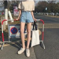 牛仔短裤女夏2018新款韩版学生热裤波浪边b宽松高腰超短裤潮女