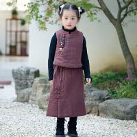 儿童唐装女宝宝古装中国风童装冬两件套小女孩民国风套装汉服女童 咖啡色 马甲+裙子