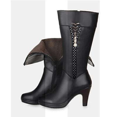 真皮羊毛女靴马靴秋冬季高筒靴及膝靴高跟长靴骑士靴女士长筒靴子SN1316 黑色(绒毛里) H9881 34 的鞋底34的靴筒
