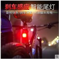 安全警示智能感应刹车灯usb充电夜骑警示灯防水山地自行车尾灯电动摩托车