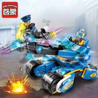启蒙科技时代5男孩益智力拼装玩具特警军团战车队6岁儿童拼插模型