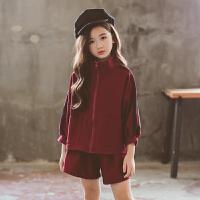 童装2018秋季洋气中大童韩版女童时尚卫衣+短裤套装两件套yly