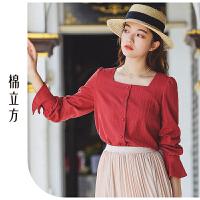 红色衬衫女长袖2019春装新款棉立方复古方领设计感小众纯棉衬衣