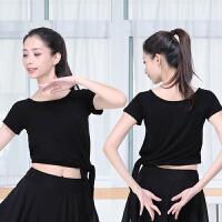 广场拉丁舞服装女新款现代专业形体舞蹈练功服套装雪纺裙裤套 黑色短袖 单上衣