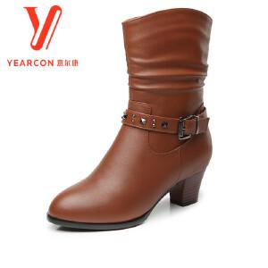 意尔康女鞋2017冬季女士圆头短筒中跟粗跟侧拉链保暖加绒舒适短靴子