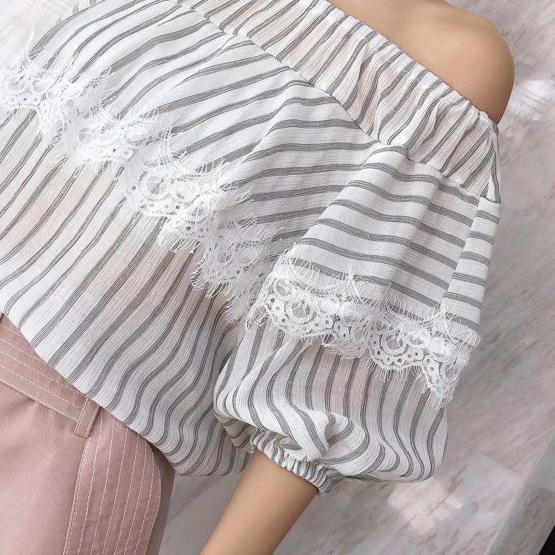 谜秀衬衫女2018夏装新款韩范遮肚子蕾丝上衣条纹雪纺衫衬衣潮