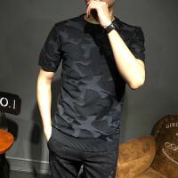 短袖毛衣男韩版迷彩服春季潮流圆领毛线衣打底衫修身型半袖针织衫
