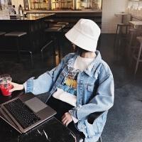牛仔外套春季女2018新款韩版b宽松破洞学生字母牛仔衣 蓝色