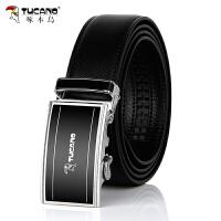 啄木鸟(TUCANO)男士皮带时尚商务青年腰带自动扣裤带 A款黑色