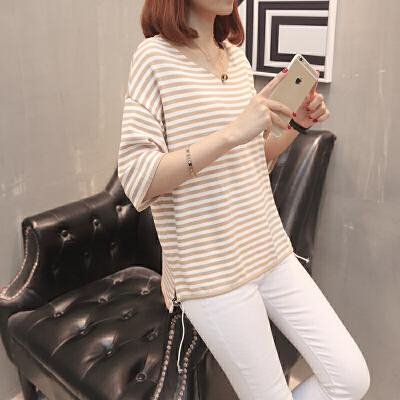 春夏季新款韩版V领条纹长袖冰丝针织衫2018chic罩衫薄款女装上衣