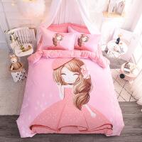 全棉大版卡通床上用品少女儿童床上四件套 夏季纯棉床单被套
