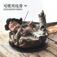 创意摆件家用茶道檀香炉大号禅意香薰炉 倒流香炉陶瓷仿古
