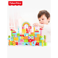 费雪80粒启蒙益儿童智积木玩具榉木制婴儿宝宝1-2岁3-6周岁男女孩