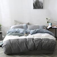 北欧素色水洗棉床上四件套简约双人床单被套刺绣床上用品