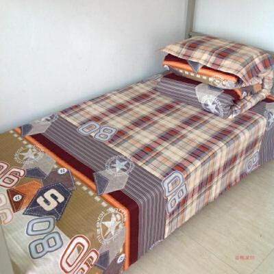 单人床学生宿舍上下铺三件套床单被罩枕套三件套加厚面料  1.0m(3.3英尺)床