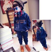 冬装新款韩国男女童加绒加厚刺绣字母加厚卫衣裤子2件套装B4-T81