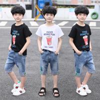 男童中大童套装夏装新款宽松短袖T恤牛仔裤两件套