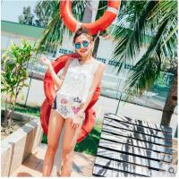泳衣女新款甜美分体泳衣三件套可爱时尚印花钢托聚拢三角