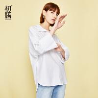 初语白色衬衫女夏装新款时尚韩版宽松蝙蝠袖套头五分袖白衬衣