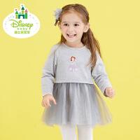 【129元3件】迪士尼Disney童装女童裙子纯棉长袖新款秋装宝宝连衣裙173Q645