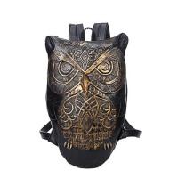 猫头鹰双肩包 男3Dpu皮创意书包 女包薄背包