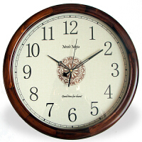 实木简约欧式美式复古圆形挂钟表石英钟中式客厅静音时钟