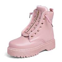 马丁靴女英伦风学生秋冬靴女2018新款韩版原宿百搭厚底加棉机车短靴