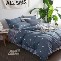床上用品四件套全棉纯棉1.5米床笠单人1.2被套1.8m床单三件套 深灰色 爱巢