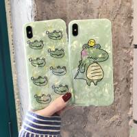 抹茶绿卡通鳄鱼iPhone8plus/6s手机壳贝壳XSMAX软壳苹果7可爱Xr女