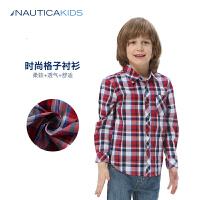 诺帝卡童装男童长袖衬衫春季儿童翻领衬衫格子衬衫