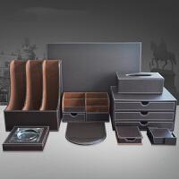 0715025816319皮革笔筒 桌面收纳盒 办公用品商务礼品套装 多功能文具 材料夹文件盒