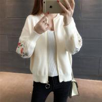 针织毛衣外套女开衫刺绣2018春季新款韩版宽松棒球服学生短外套潮