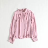 女春款长袖雪纺衫 立领塌肩袖套头日系垂感上衣衬衫47X