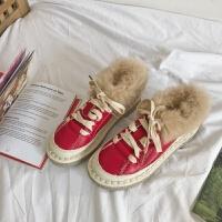 文艺森叙复古甜美超软底单鞋冬季ins软妹系带短靴英伦学生小单鞋