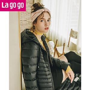 【清仓3折价199.8】Lagogo2019年冬新款黑色休闲连帽白鸭绒保暖轻羽绒服女过膝长款