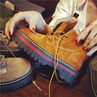 秋季新款真皮马丁靴女松糕厚底短靴子英伦风系带机车女靴子