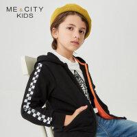 【1件2折到手价:59.8】米喜迪mecity童装春新款男童袖子棋盘格连帽针织开衫外套
