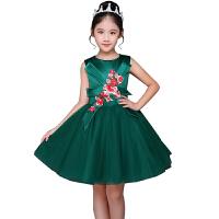 女童礼服儿童公主裙儿童礼服蓬蓬裙小主持人钢琴生日六一演出礼服57 绿色