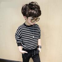 童装男童长袖t恤春装2018新款体恤儿童条纹打底衫韩版上衣