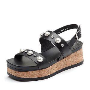 BASTO/百思图2018夏季专柜同款软羊皮革珍珠松糕女凉鞋RMY06BL8