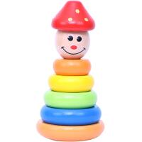 儿童早教力玩具婴儿幼儿套圈彩虹圈套塔叠叠乐木制不倒翁积木 小丑套塔