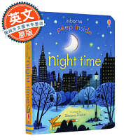 偷偷看里面系列:夜晚 英文原版童书 Peep Inside Night-Time 儿童翻翻书绘本 立体趣味书纸板书