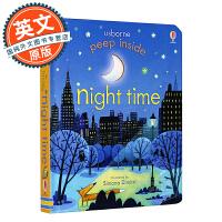 英文原版童书 Usborne Peep Inside Night-Time 偷偷看里面系列 夜晚 进口绘本洞洞书 科普