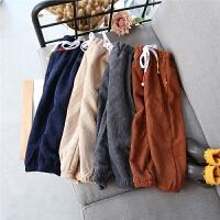 中小童男童加绒裤子17新款冬季男女童百搭加厚休闲裤长裤A8-S25