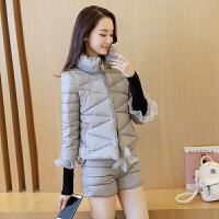 棉衣套装女冬季2018新款时尚两件套韩版百搭修身短款小棉袄潮