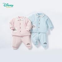 迪士尼Disney童装 婴儿衣服秋冬新品休闲夹棉套装女宝宝可开档保暖加厚家居服184T828