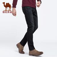 骆驼男装 秋季新款纯色休闲牛仔裤中腰微弹直筒男士青年长裤