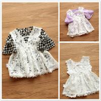 潮~蕾丝公主无袖罩裙 0-1-2-3岁女女宝宝白色吊带背心蕾丝镂空裙